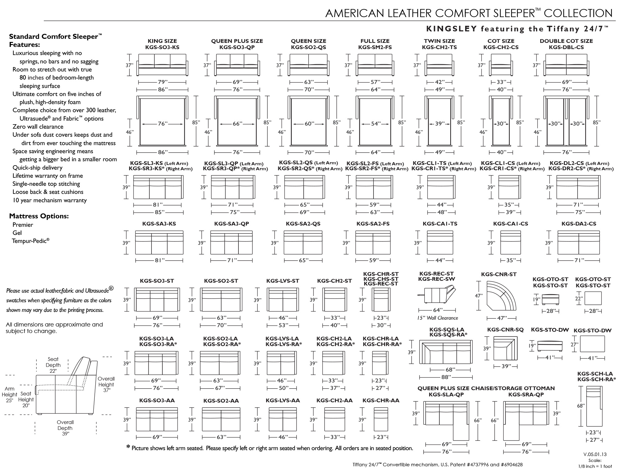 Schematic For American Leather Kingsley Comfort Sleeper