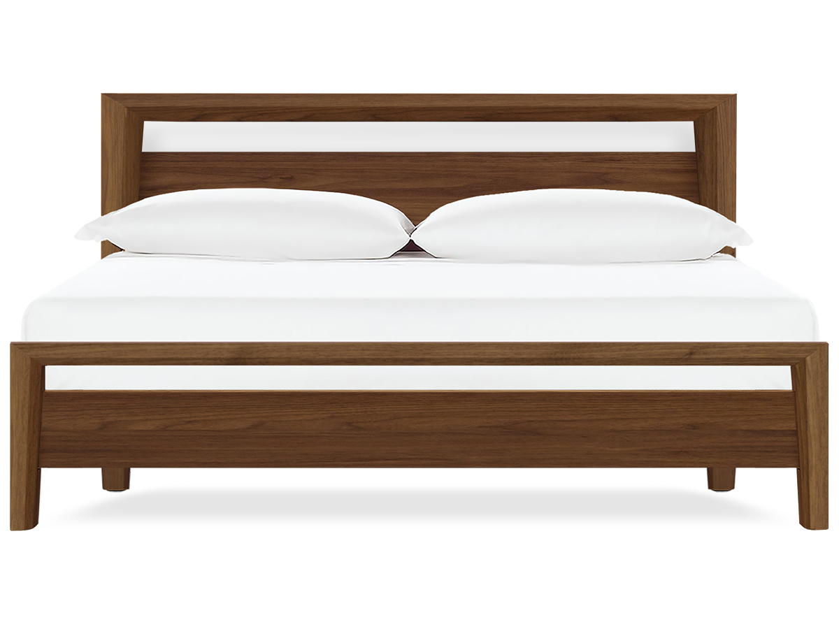 bedroom  more  modern beds  san francisco - mansfield walnut qn  · contour modern platform bed